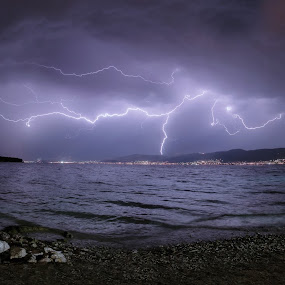Lightning by Antonio Rossetti - Landscapes Weather ( lightning, sea, storm, boat, night sky )