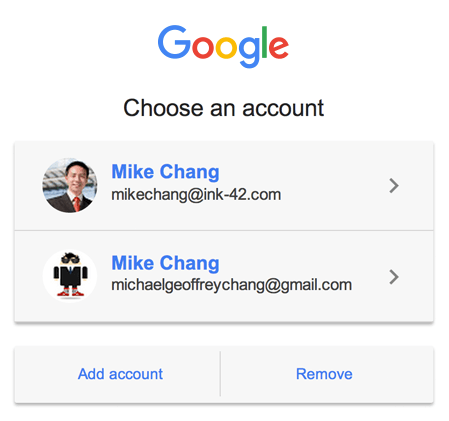 Easy Google Drive account switching