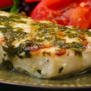 Recipe for Grilled Halibut with Garlic Cilantro Sauce