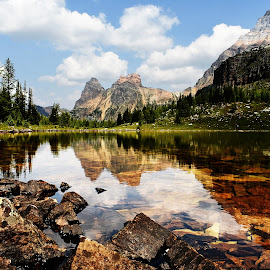 Mountain Reflections by Griffin Li - Landscapes Waterscapes