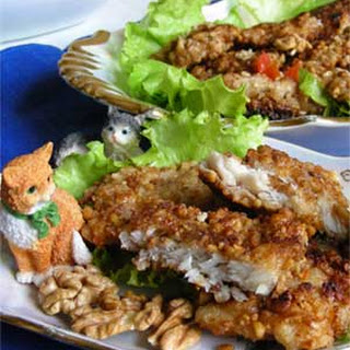Fried Blue Whiting Chops in Nut Crumbs