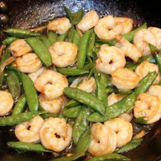 Gingered Stir-Fry Shrimps with Snow Peas.