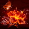 Fiery Flower Butterfly LWP icon