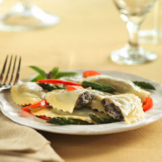 Mushroom Agnolotti with Fresh Asparagus and Red Peppers