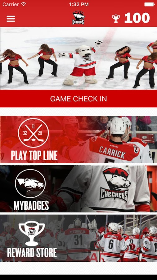 Charlotte Checkers App- screenshot