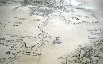Photo: There are many labels and icons, but no place-names. Instead, the markers on this map refer to events of historical or mythological importance. After all, much of the significance we attach to a location comes from its history - real or imagined. (Captain Jae's ship is a particular favorite of mine! And, for some reason, just about everyone who I've shown this map to comments on the Beggar's Church.)