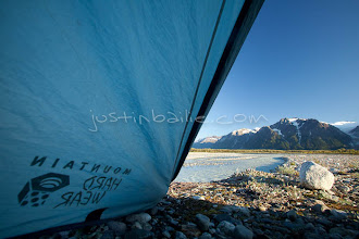 """Photo: View out of tent as seen while on raft trip down the Tashenshini River. The """"Tat"""" flows out of Yukon, CA, through British Columbia and empties into Glacier Bay National Park in Alaska, US."""