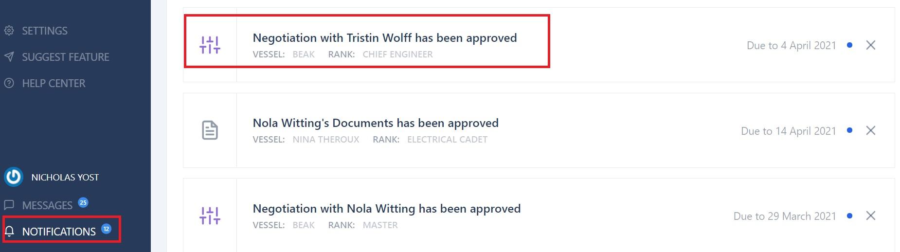 screenshot of Martide's maritime recruitment website showing a notification