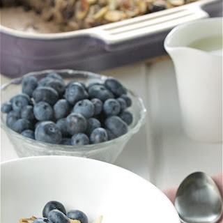 Oatmeal Breakfast Casserole with Blueberries, Maple & Almonds.