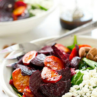 Maple-Roasted Beet and Carrot Spinach Salad Recipe