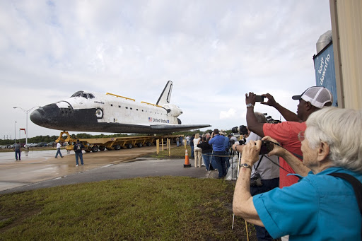 Space shuttle Atlantis moves from Orbiter Processing Facility 2 to the Vehicle Assembly Building at NASA's Kennedy Space Center.