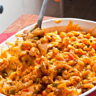 Cheesy Beef And Macaroni Casserole.