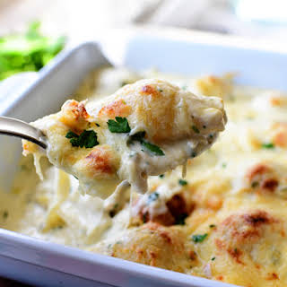 Chicken Alfredo Stuffed Shells.