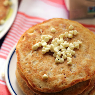 White Chocolate Macadamia Nut Pancakes with Coconut-Maple Syrup