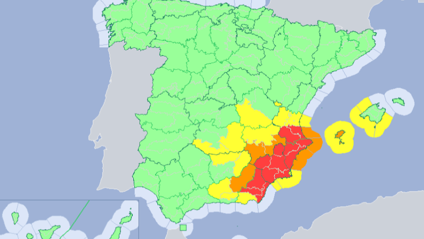 Mapa publicado por la Aemet en su página web con las alertas por riesgo de tormentas.