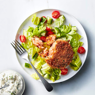 Salmon Cakes With Caper Mayonnaise.