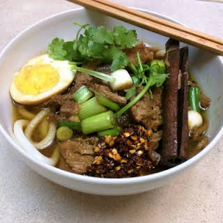 Taiwanese Inspired Braised Pork Noodle Soup.