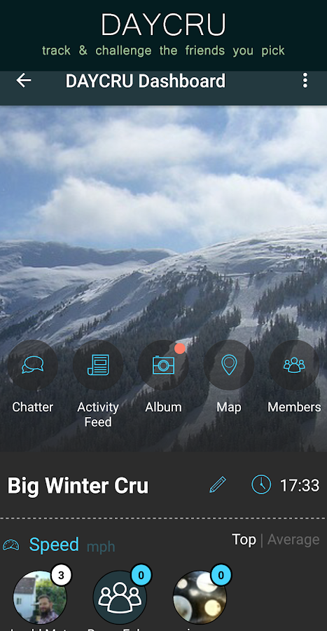 SNOCRU Ski Tracking App- screenshot