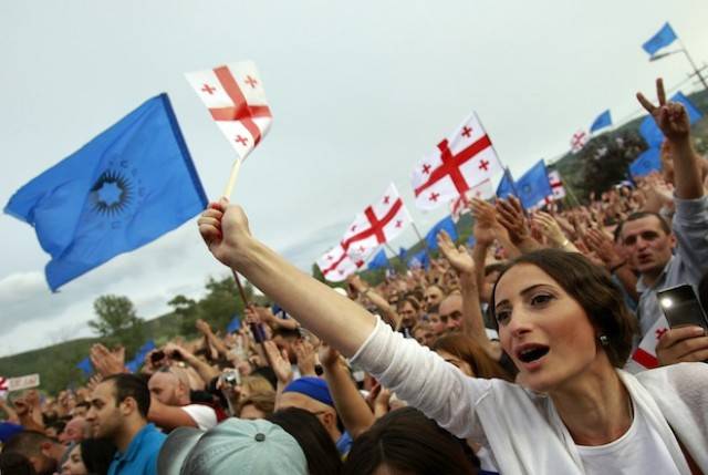 Photo: July 2, 2012: Supporters of the opposition bloc Georgian Dream chant slogans during a rally in a town outside Tbilisi, Georgia, on July 1. http://bit.ly/zUfrQf