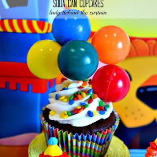 Carnival Cake Walk Soda Can Cupcakes.