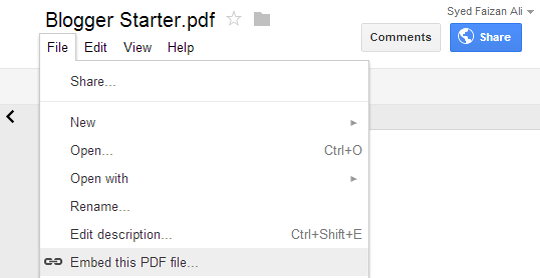 How To Embed Ms word, PDF and other Documents In Blogger Blog Posts