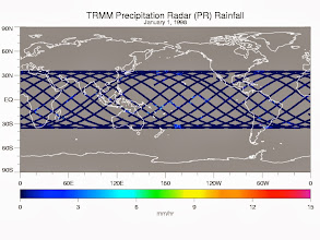 Photo: one day's coverage of the TRMM satellite precipitation radar.