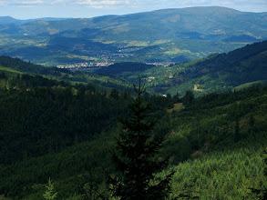 Photo: Milówka i ogromny masyw Baraniej Góry.