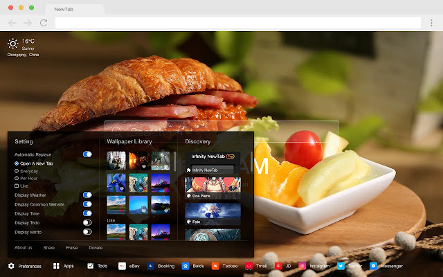 Sandwich New Tab HD Popular Foods Themes