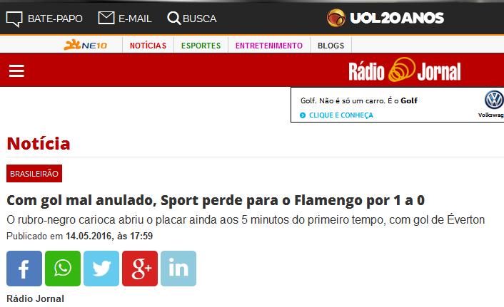 Flamengo roubou pra vencer o Sport
