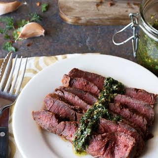Smoky Sweet Dry Rub Flank Steak with Spicy Chimichurri.