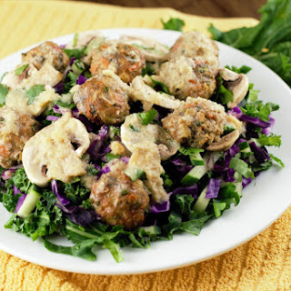 Ginger Kale Salad with Asian Turkey Meatballs Recipe