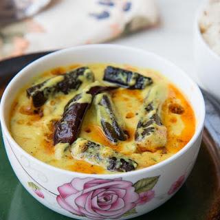 Punjabi Bhindi Kadhi Recipe (Roasted Okra In Yogurt Curry)