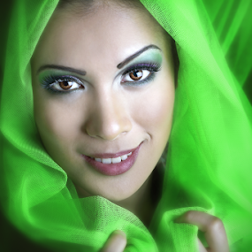 Vibrant Beauty by Glory Reaglobe - People Portraits of Women ( faces, green, beauty, women )