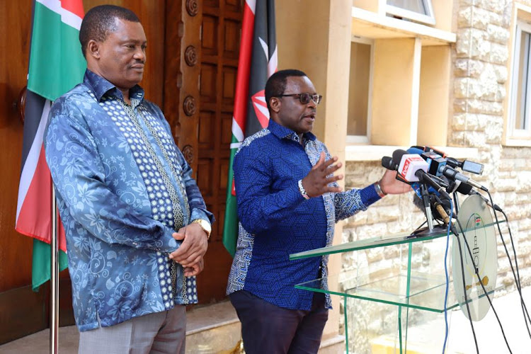 National Assembly Speaker Justin Muturi and his Senate counterpart Kenneth Lusaka during a presser at Parliament Buildings on March 26