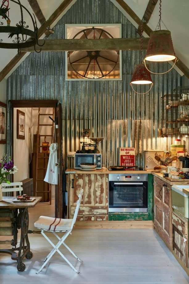Corrugated Metal Walls In Interior Space