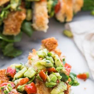 Chicken Schnitzel Sandwich with Tomato Avocado Salsa