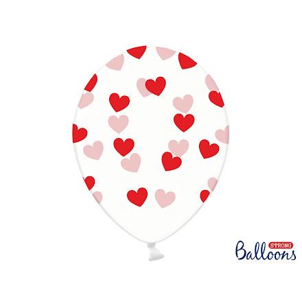 Ballonger - Crystal clear med röda hjärtan