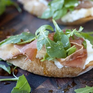 Prosciutto and Ricotta Crostini with Honey.