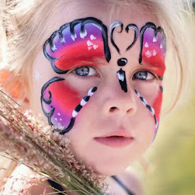 my heart by Shayne Janks Nicolas - Babies & Children Child Portraits ( butterfly, blonde, little girl, colourful, gorgeous, grass, purple flowers, face paint, sweetheart, cute, face painting )