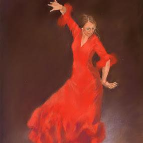 Lunares by Margaret Merry - Painting All Painting ( dancing, pastel, spanish, bailaora, art, drawing, spain, flamenco, andalucia, margaret merry, prints, dance, painting, almeria, dancer )