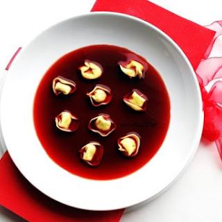 Polish Christmas Hot Beet Soup with Mushroom Dumplings Recipe