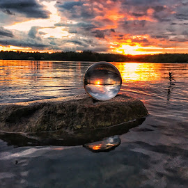 Golden hour orb by Rob King - Artistic Objects Glass ( glass, reflection, crystal, sunset, god's beauty, orb )