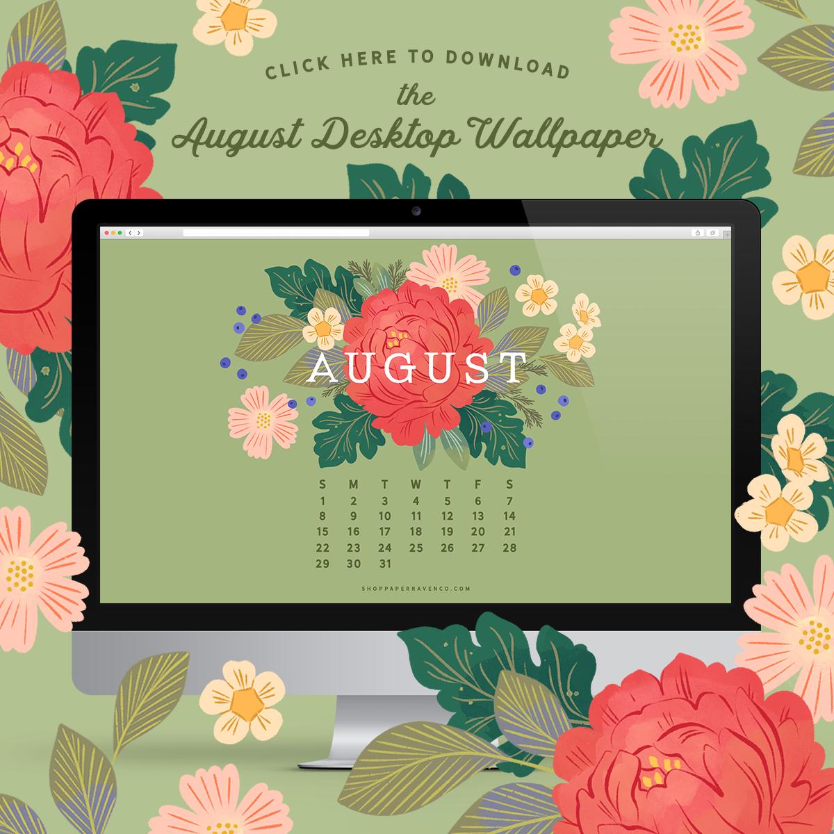 August 2021 Illustrated Desktop Wallpaper by Paper Raven Co. #dressyourtech #desktopwallpaper #desktopdownload