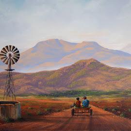 by Linda Jansen van Rensburg. - Painting All Painting ( linda jansen van rensburg, donkiekar, south african art, linda botes, skildery )