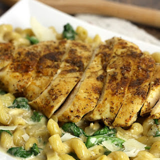 Cajun Chicken and Spinach Parmesan Pasta Skillet Meal.