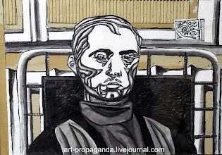 """Photo: """"Автопортрет"""" 2004г. О.Новиков гофрокартон, бумага, тушь, кисть."""