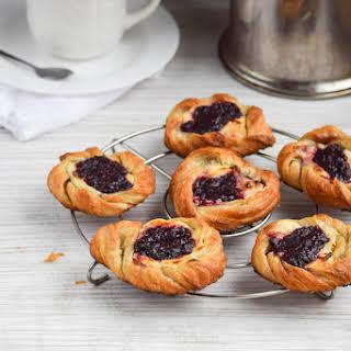 Raspberry Cheesecake Puff Pastry Danishes.