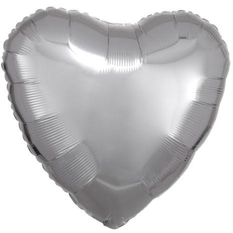 Folieballong, hjärta metallic silver 43 cm
