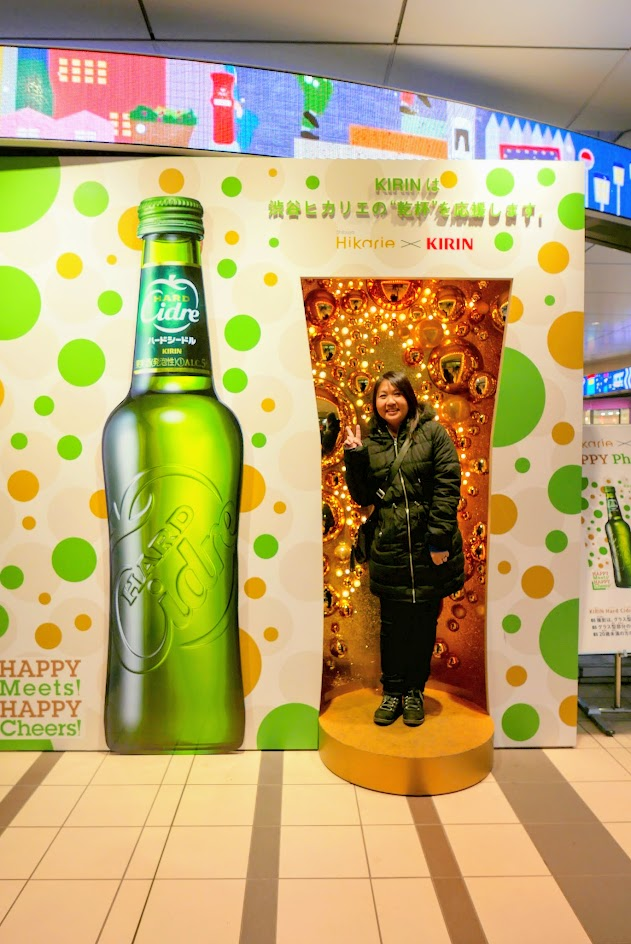 Happy Holidays as I pose in this Kirin display by Shibuya train station by Hikarie. Happy Meets Happy, Cheers!
