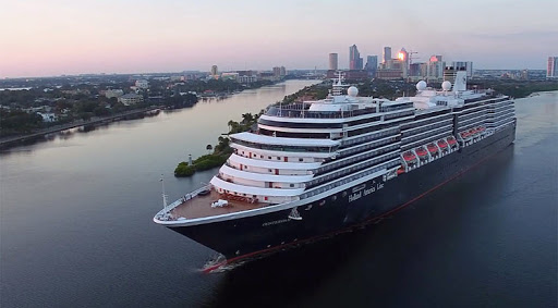 Oosterdam at dusk during a sailaway out of Port Tampa Bay.